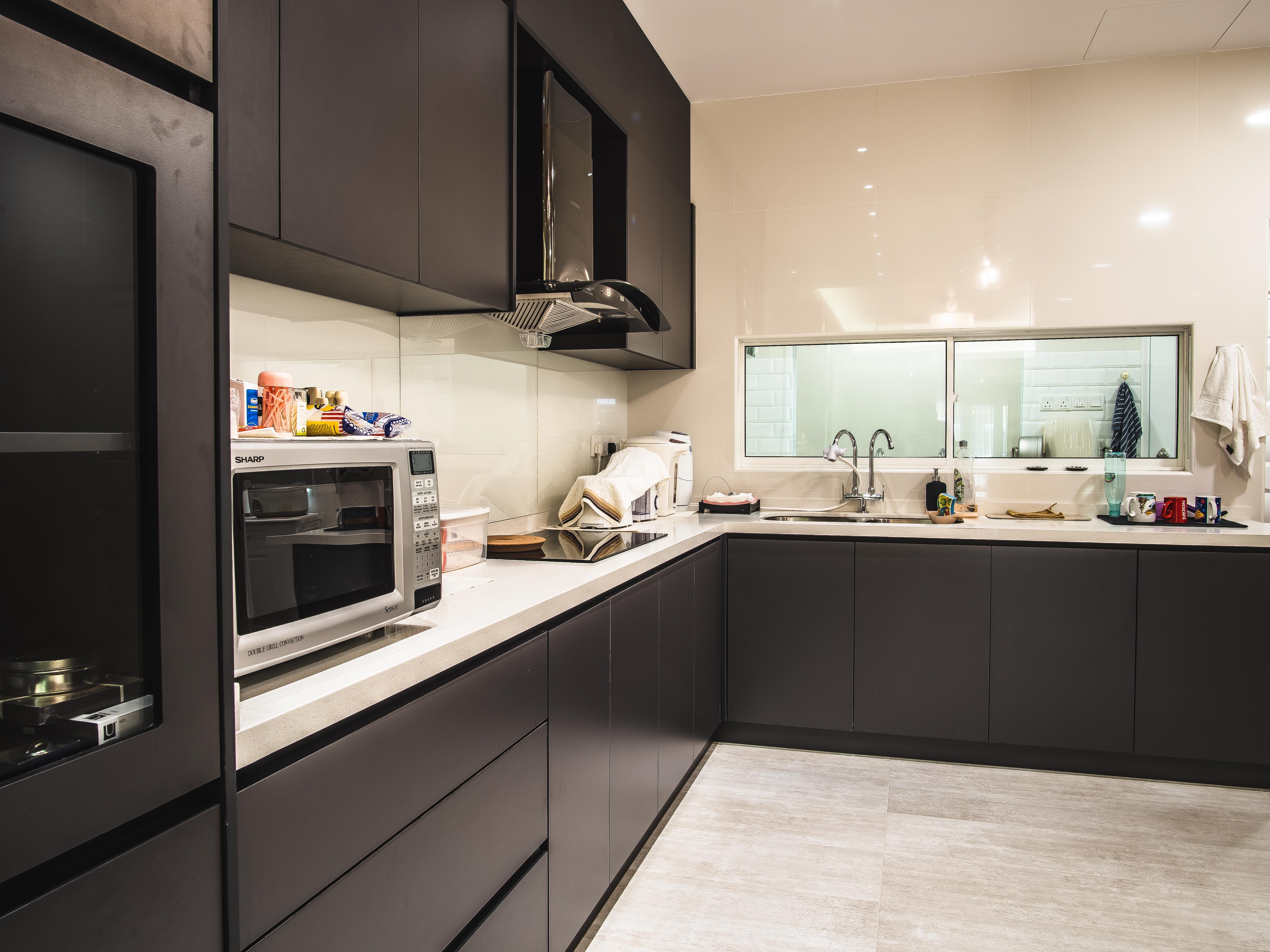 Dark Grey Melamine Board Finish Dry Kitchen Eq