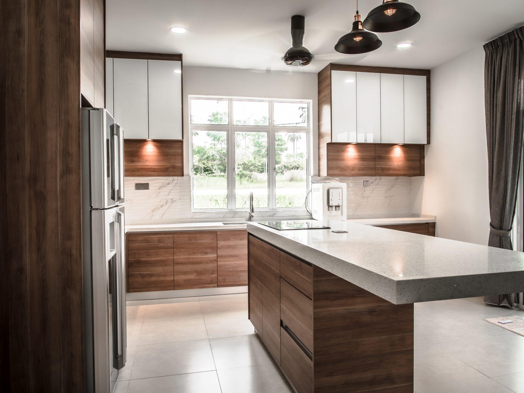Melamine Wood Finish Kitchen Cabinet & Island - EQ