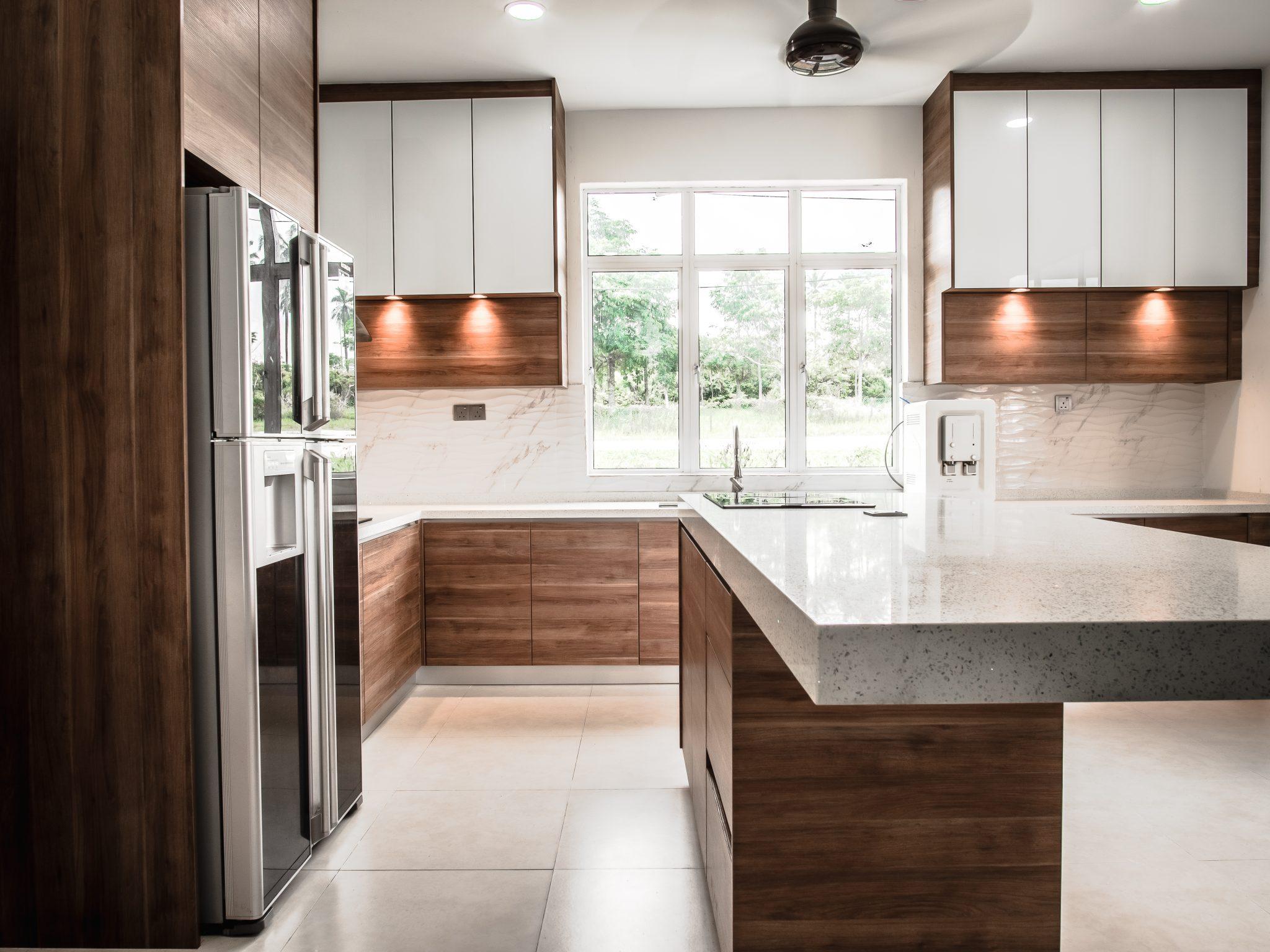 Melamine Wood Finish Kitchen Cabinet Island Eq